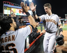 sf giants, san francisco giants, photo, 10/9/2012, nlds game 3, angel pagan, buster posey