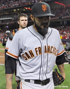 sf giants, san francisco giants, photo, 10/9/2012, nlds game 3, buster posey, sergio romo