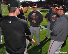 sf giants, san francisco giants, photo, nlds, 2012, aubrrey huff, hunter pence, matt cain, bruce bochy, jeremy affeldt