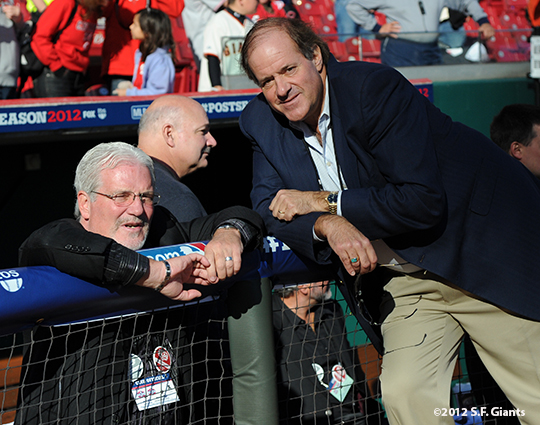 sf giants, san francisco giants, photo, 10/9/2012, nlds game 3, chris berman, brian sabean