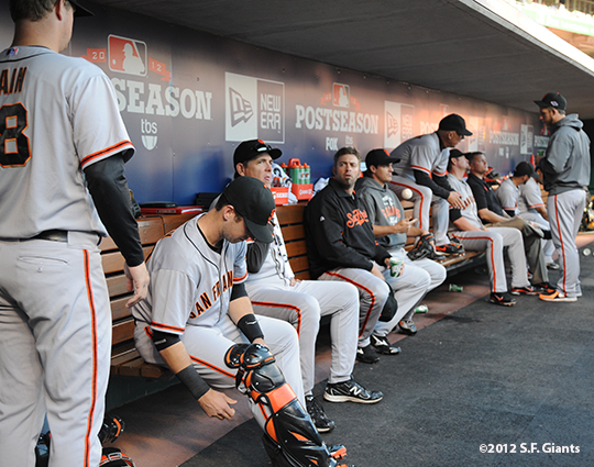 sf giants, san francisco giants, photo, 10/9/2012, nlds game 3, dugout, team