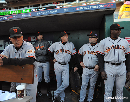 sf giants, san francisco giants, photo, nlds, 2012, joe lefebvre, barry zito, tim flannery, bambam meulens, ron wotus