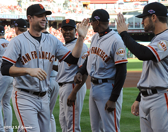 sf giants, san francisco giants, photo, 10/9/2012, nlds game 3, brandon belt, xavier nady