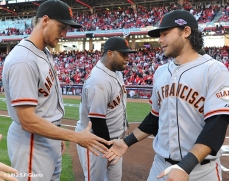 sf giants, san francisco giants, photo, 10/9/2012, nlds game 3, hunter pence, pablo sandoval, brandon crawford