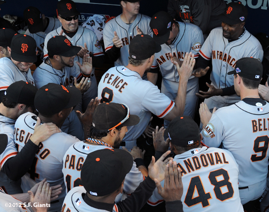 sf giants, san francisco giants, photo, nlds, 2012, hunter pnce, team
