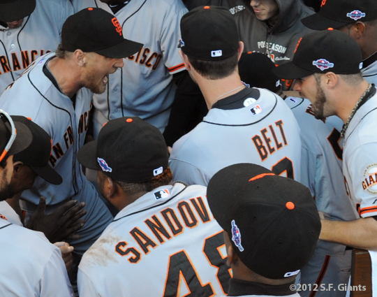 sf giants, nlds, san francisco giants, photo, hunter pence, preacher pence, 2012, george kontos