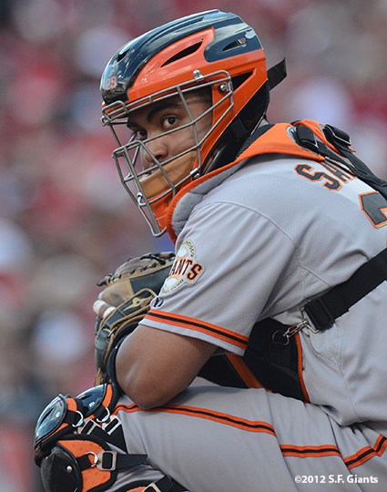 sf giants, san francisco giants, photo, 10/10/2012, nlds game 4, hector sanchez