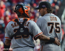 sf giants, san francisco giants, photo, nlds, 2012, hector sanchez, barry zito