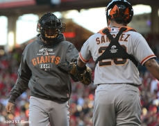 sf giants, san francisco giants, photo, nlds, 2012, eli whiteside, hector sanchez
