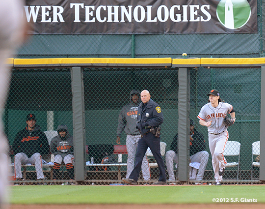 sf giants, san francisco giants, photo, 10/10/2012, nlds game 4, tim linceucm, bulllpen