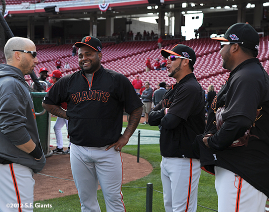 sf giants, san francisco giants, photo, 10/10/2012, nlds game 4, marcos cutaro, gregor blanco, pablo sandoval