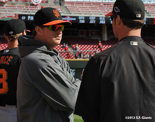 sf giants, san francisco giants, photo, 10/10/2012, nlds game 4, MATT CAIN, RYAN VOGELSONG