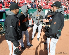 sf giants, san francisco giants, photo, 10/10/2012, nlds game 4, jeremy affeldt, javier lopez, santiago casilla, tim lincecum