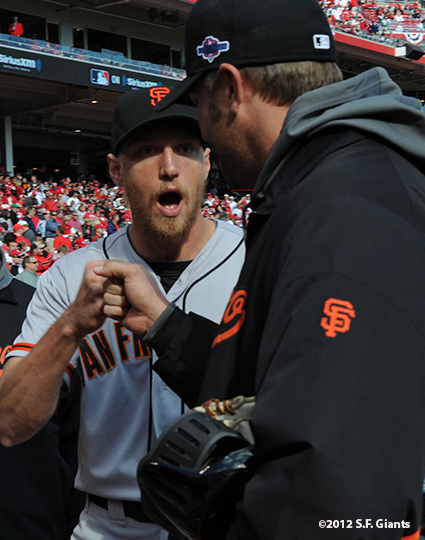 sf giants, san francisco giants, photo, 10/10/2012, nlds game 4, hunter pence, jeremy affeldt