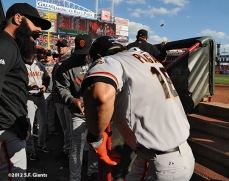 sf giants, san francisco giants, photo, 10/10/2012, nlds game 4, brian wilson, angel pagan, team