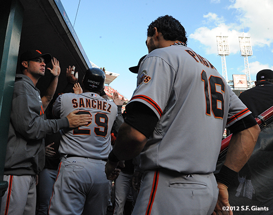 sf giants, san francisco giants, photo, nlds, 2012, ryan vogelsong, hector sanchez, angel pagan