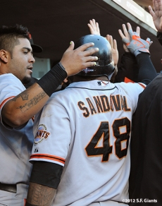 sf giants, san francisco giants, photo, nlds, 2012, hector sanchez, pablo sandoval