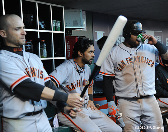 sf giants, san francisco giants, photo, 10/10/2012, nlds game 4, marcos cutaro, angel pagan, pablo sandoval