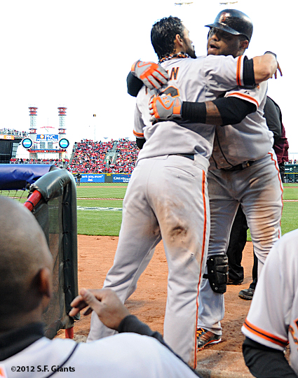 sf giants, san francisco giants, photo, 10/10/2012, nlds game 4, angel pagan, pablo sandoval