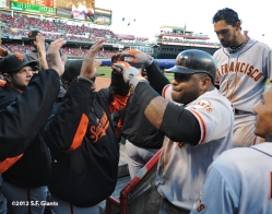 sf giants, san francisco giants, photo, 10/10/2012, nlds game 4, pablo sandoval, angel pagan, team