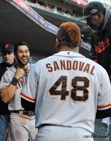 sf giants, san francisco giants, photo, 10/10/2012, nlds game 4, angel pagan, pablo sandoval, bambam meulens