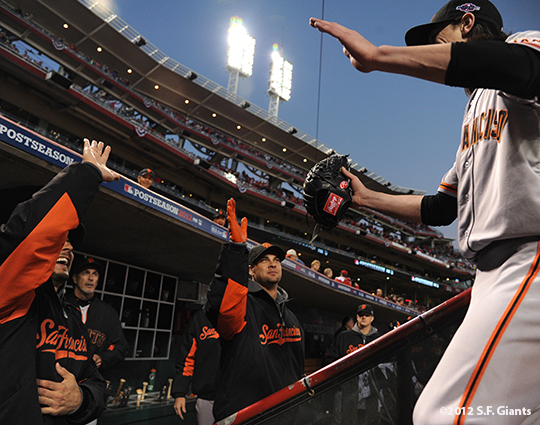 sf giants, san francisco giants, photo, nlds, 2012, tim linecum, clay hensley, ryan vogelsong