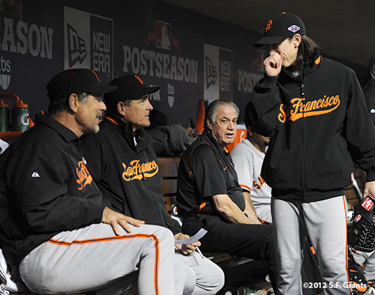 sf giants, san francisco giants, photo, nlds, 2012, bruce bochy, tim lincecum, dave righetti, mike murphy