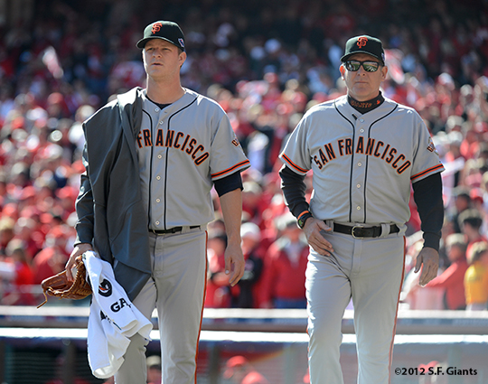 sf giants, san francisoc giants, photo, 10/11/2012, nlds clinch, win, matt cain, dave righetti