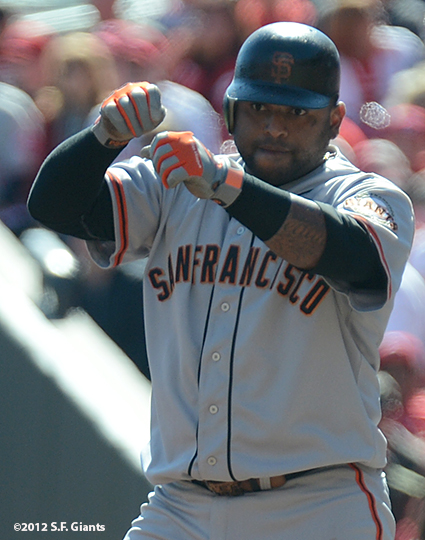 sf giants, san francisoc giants, photo, 10/11/2012, nlds clinch, win, pablo sandoval
