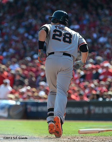 sf giants, san francisoc giants, photo, 10/11/2012, nlds clinch, win, buster posey, grand slam