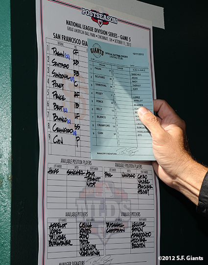 sf giants, san francisoc giants, photo, 10/11/2012, nlds clinch, win, lineup card, ron wotus