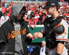sf giants, san francisoc giants, photo, 10/11/2012, nlds clinch, win, tim lincecum, buster posey
