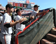 sf giants, san francisco giants, photo, nlds, 2012, brandon belt, ron wotus, bruce bochy