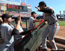 sf giants, san francisoc giants, photo, 10/11/2012, nlds clinch, win, gregor blanco, team