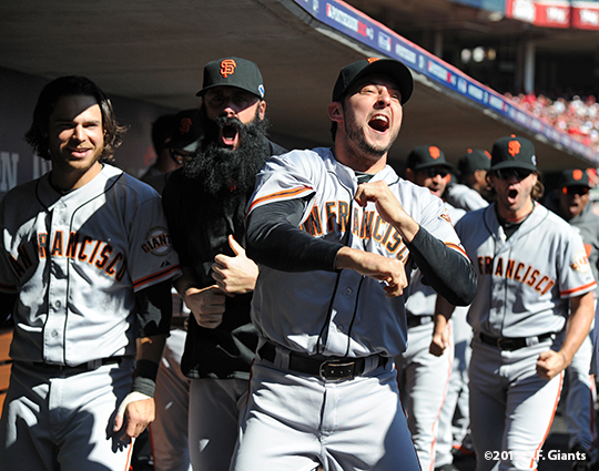 sf giants, san francisoc giants, photo, 10/11/2012, nlds clinch, win, brandon crawford, brian wilson, barry zito, clay hensley