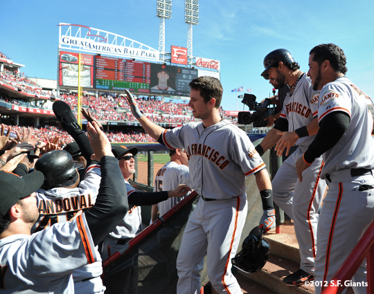 sf giants, san francisoc giants, photo, 10/11/2012, nlds clinch, win, buster posey, grand slam, pablo sandoval, angel pagan, gregor blanco