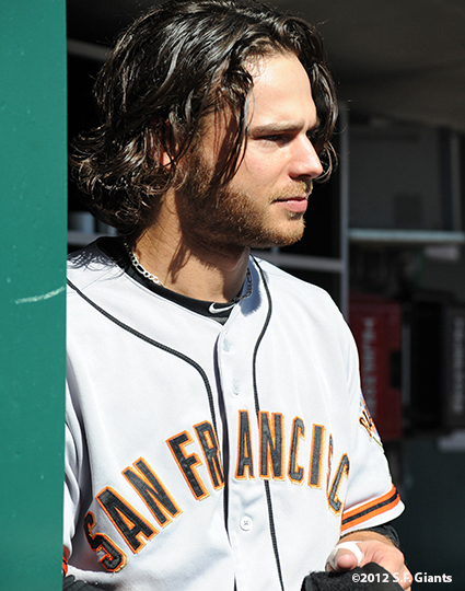 sf giants, san francisoc giants, photo, 10/11/2012, nlds clinch, win, brandon crawford