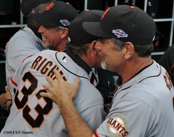 sf giants, san francisco giants, photo, nlds, 2012, bruce bochy, dave righetti