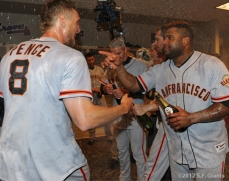 sf giants, nlds, san francisco giants, photo, hunter pence, preacher pence, 2012, clinch, win, clubhouse, pablo sandoval