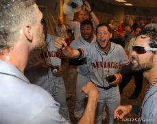 sf giants, nlds, san francisco giants, photo, hunter pence, preacher pence, 2012, clinch, win, clubhouse, angel pagan, gregor blanco
