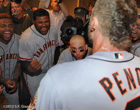 sf giants, nlds, san francisco giants, photo, hunter pence, preacher pence, 2012, clinch, win, clubhouse, pablo sandoval, marco scutaro, hector sanchez
