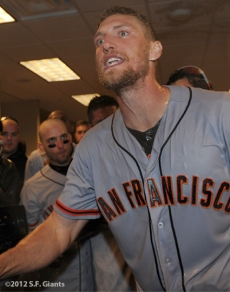 sf giants, nlds, san francisco giants, photo, hunter pence, preacher pence, 2012, clinch, win, clubhouse,