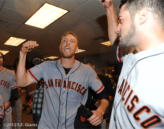 sf giants, nlds, san francisco giants, photo, hunter pence, preacher pence, 2012, clinch, win, clubhouse, george kontos