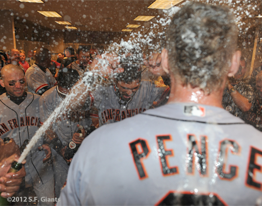 sf giants, nlds, san francisco giants, photo, hunter pence, preacher pence, 2012, clinch, win, clubhouse, team