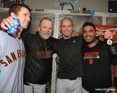 sf giants, san francisco giants, photo, nlds, 2012, buster posey, billy hayes, eli whiteside, hector sanchez