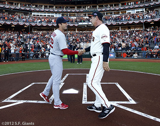 San Francisco Giants, S.F. Giants, photo, 2012, NLCS, Mike Matheny, Bruce Bochy