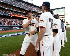 San Francisco Giants, S.F. Giants, photo, 2012, NLCS, Hunter Pence and Barry Zito