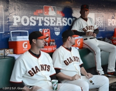 sf giants, san francisco giants, photo, 10/14/2012, nlcs game 1, ryan vogelsong, aubrey huff, tim flannery