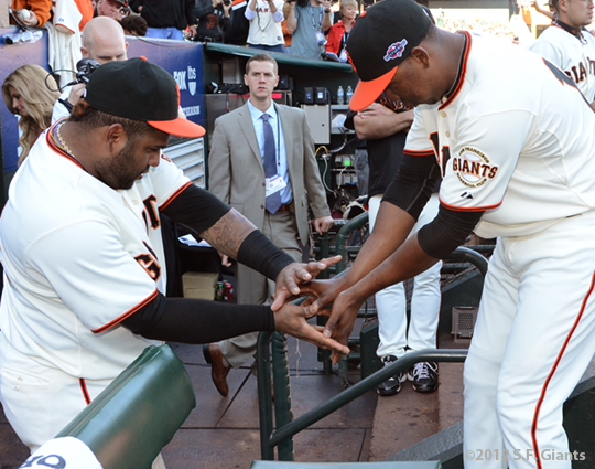 sf giants, san francisco giants, photo, 10/14/2012, nlcs game 1, pablo sandoval, francisco peguero