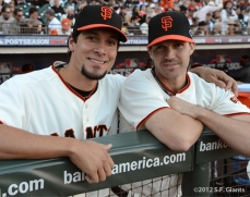 sf giants, san francisco giants, photo, 10/14/2012, nlcs game 1, javier lopez, barry zito